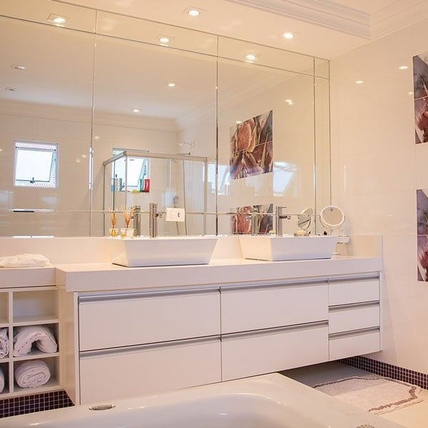 Bathroom with smart spotlighting