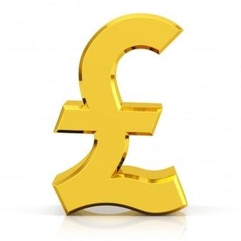 gold pound symbol british pound symbol isolated white