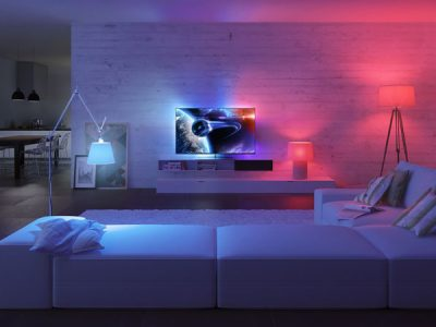 Small Living room with red and blue lighting