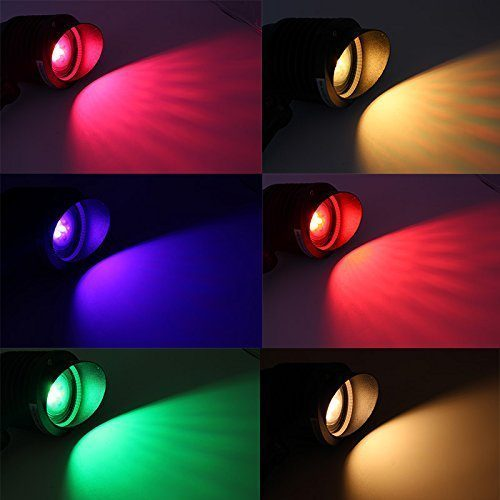 Different coloured bulbs; Red, Yellow, Blue and Green