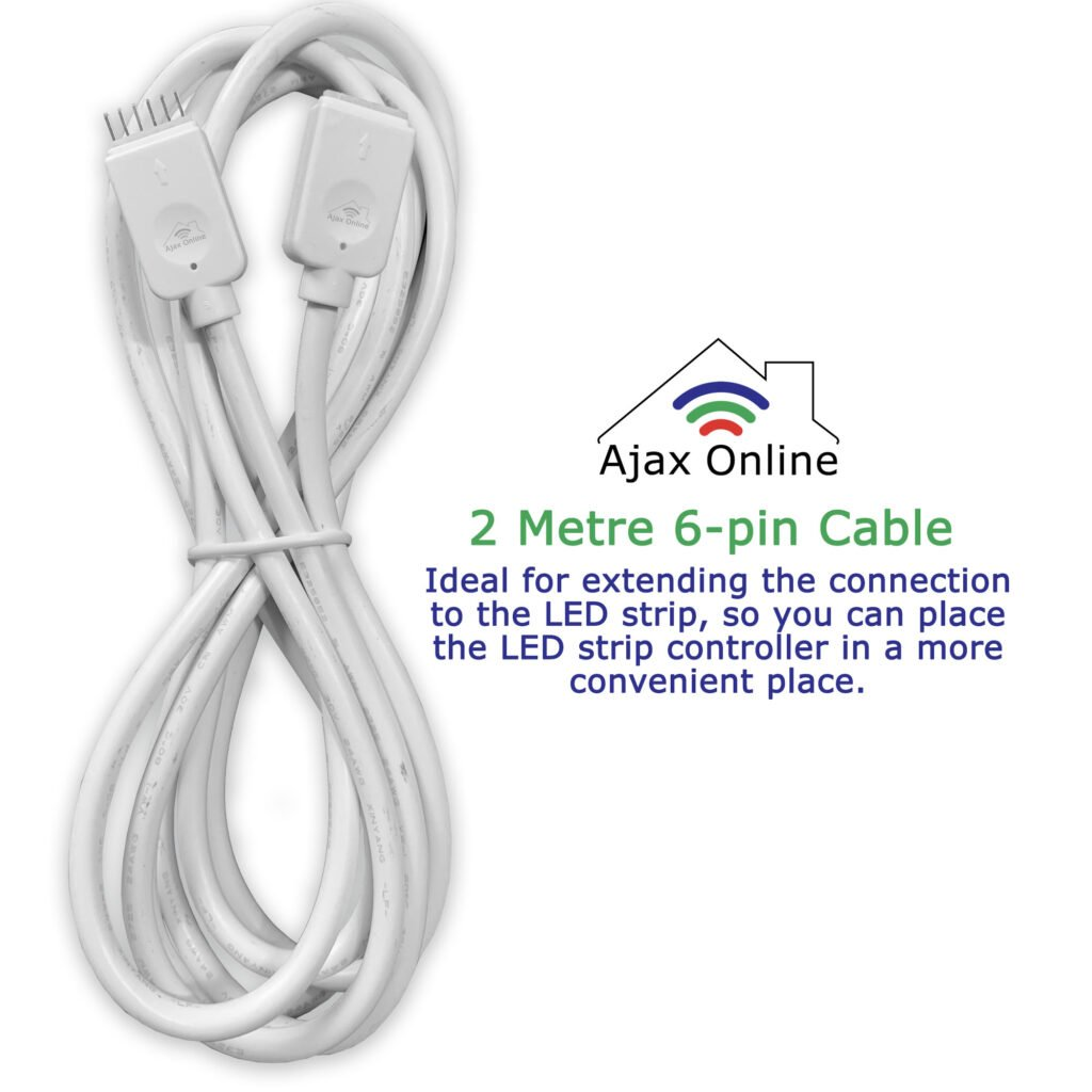 2 meter extension cable with 6 pin connections