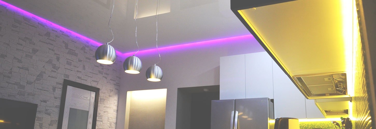 Kitchen with LED Strip lighting along the ceiling