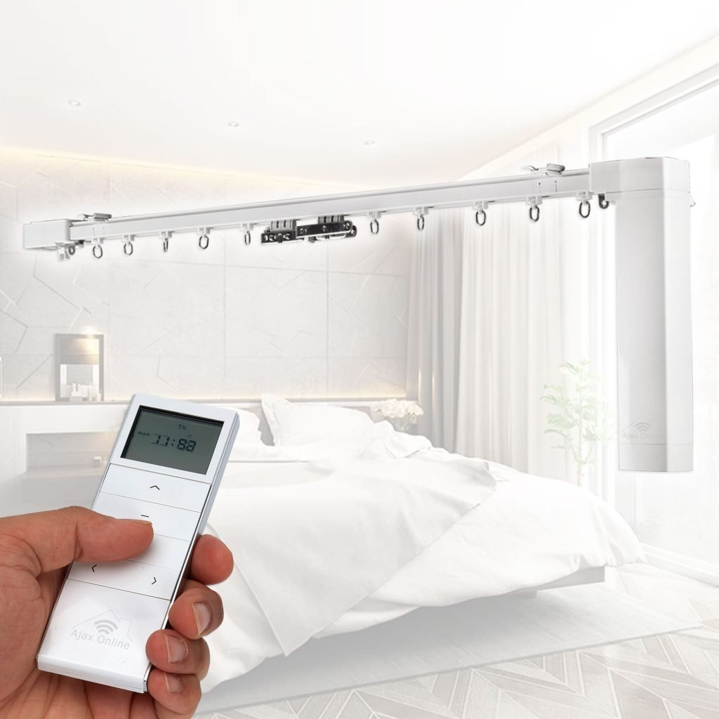 Person controlling Smart curtain track with white remote.