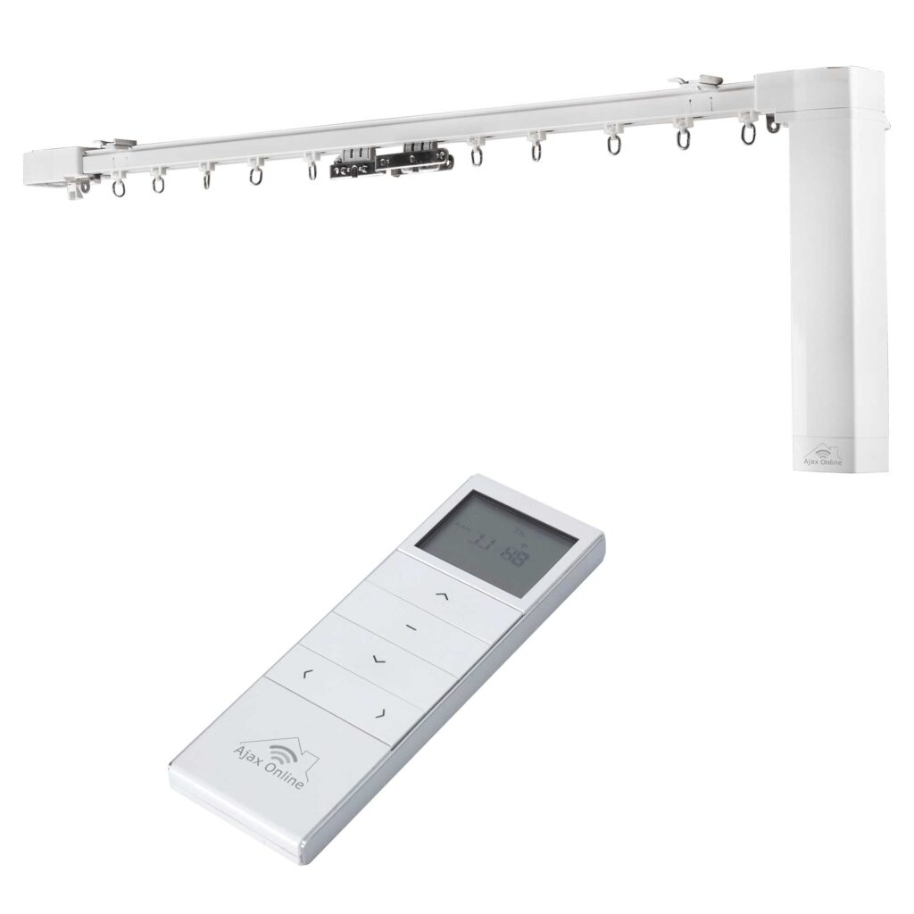Smart curtain track with white remote control