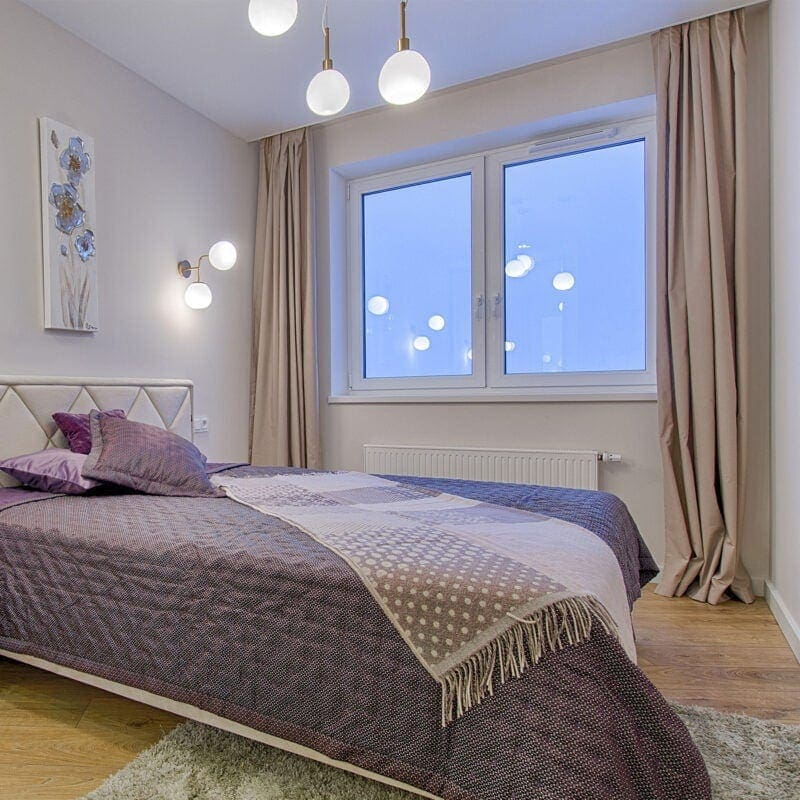 Cosy bedroom with Smart wifi curtains