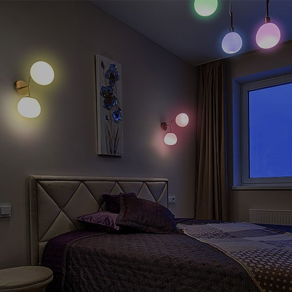 colourful smart lighting in the bedroom