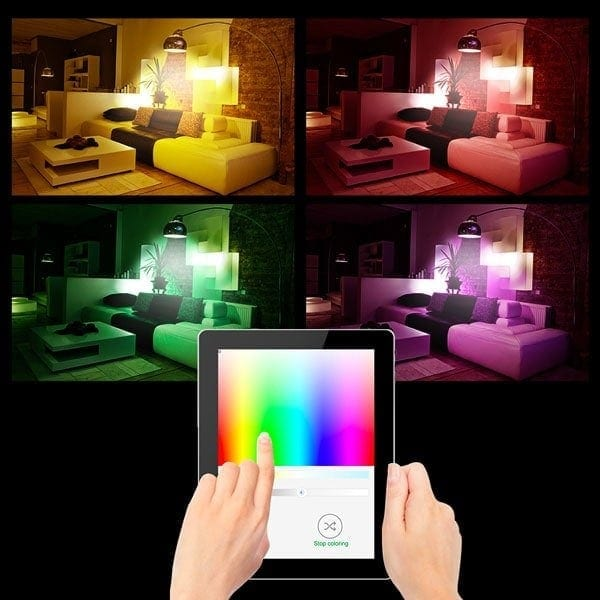 Tablet being used to control light colours