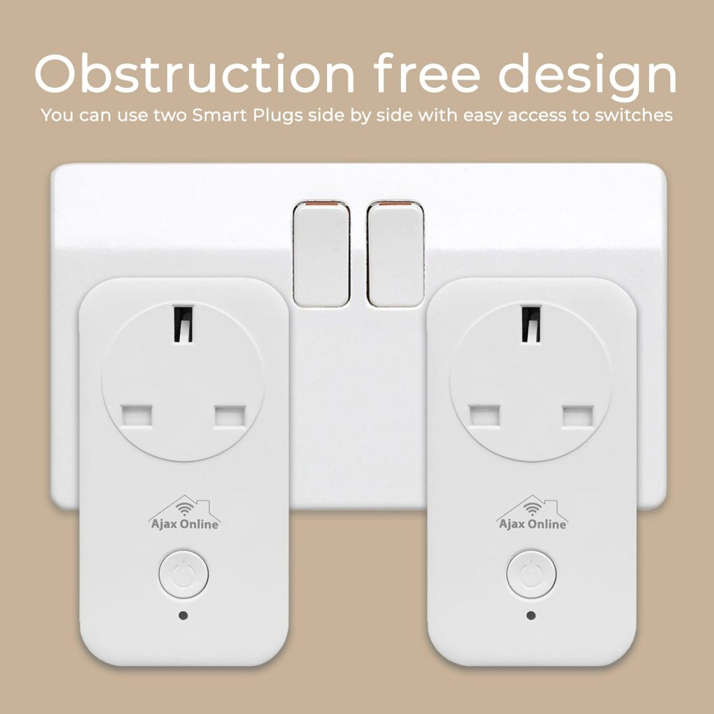 2 smart plugs in sockets, no obstruction