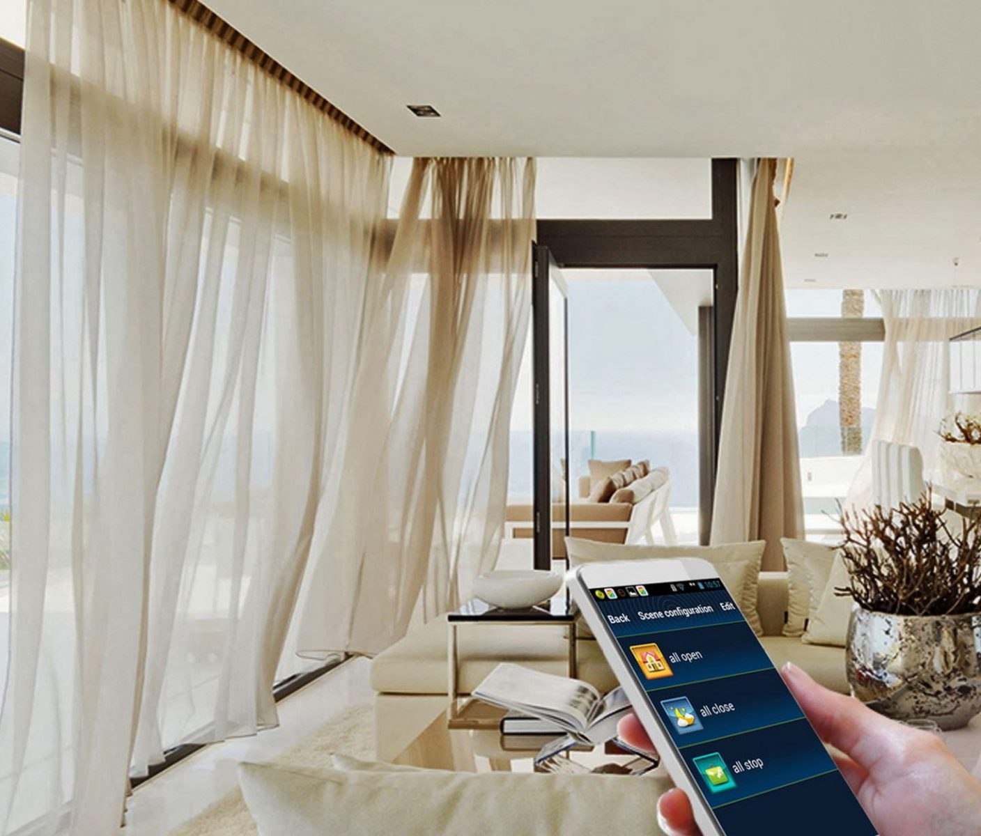 Person controlling large curtains with smart phone.