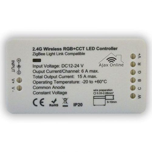 white 2.4V Wireless RGB+CCT LED controller