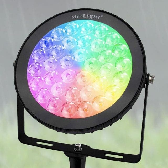 Round outdoor Floodlight displaying a range of colours