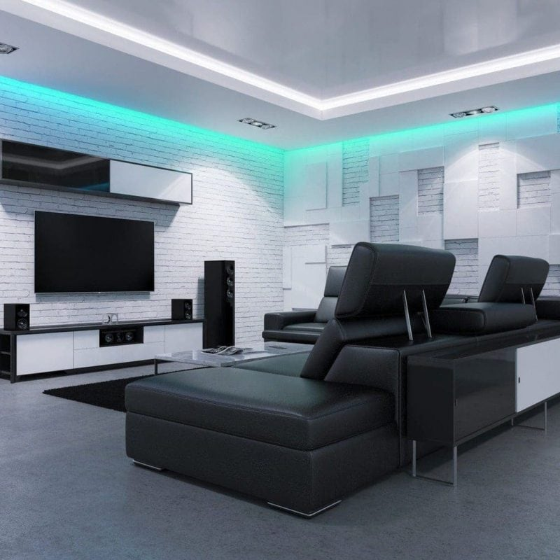 Living Room with Blue LED Strips on ceiling