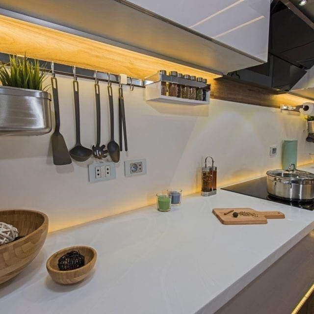 Kitchen work top with LED Strips Surrounding