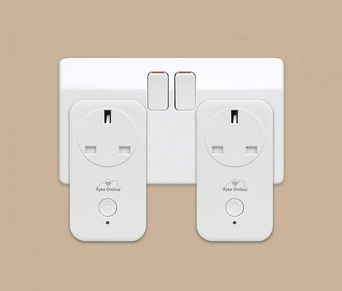 2 White Smart plugs plugged into wall socket