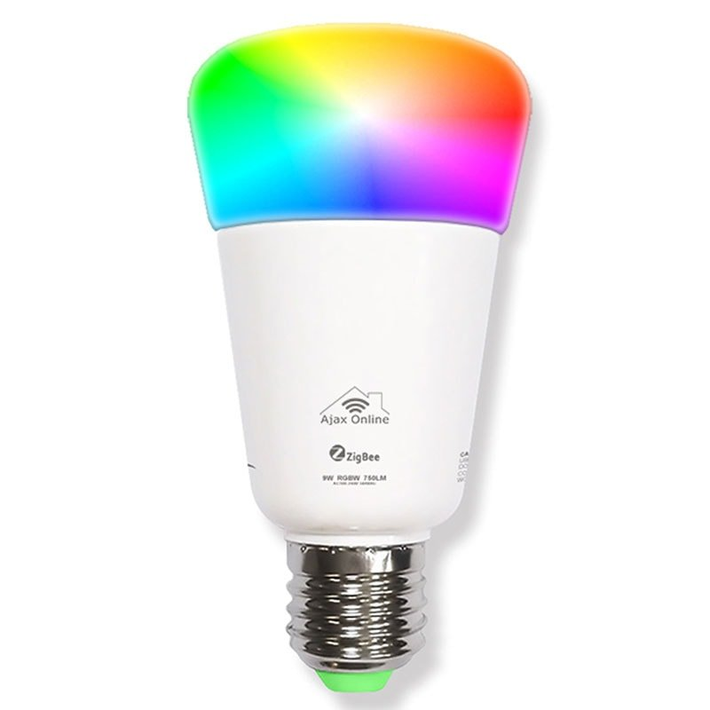 Smart LED bulb displaying range of colours