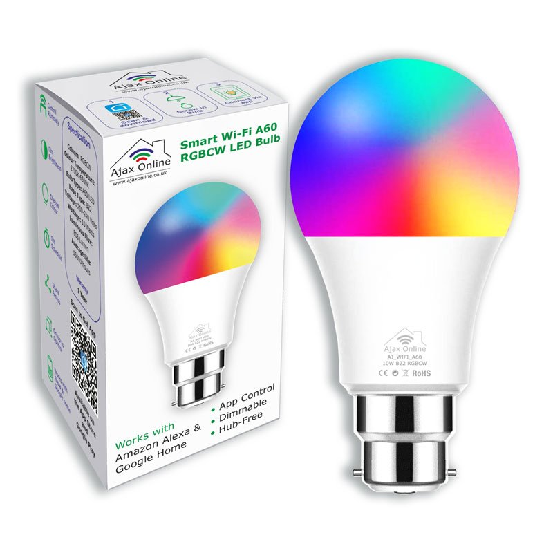 A60 Smart bulb displaying range of colours