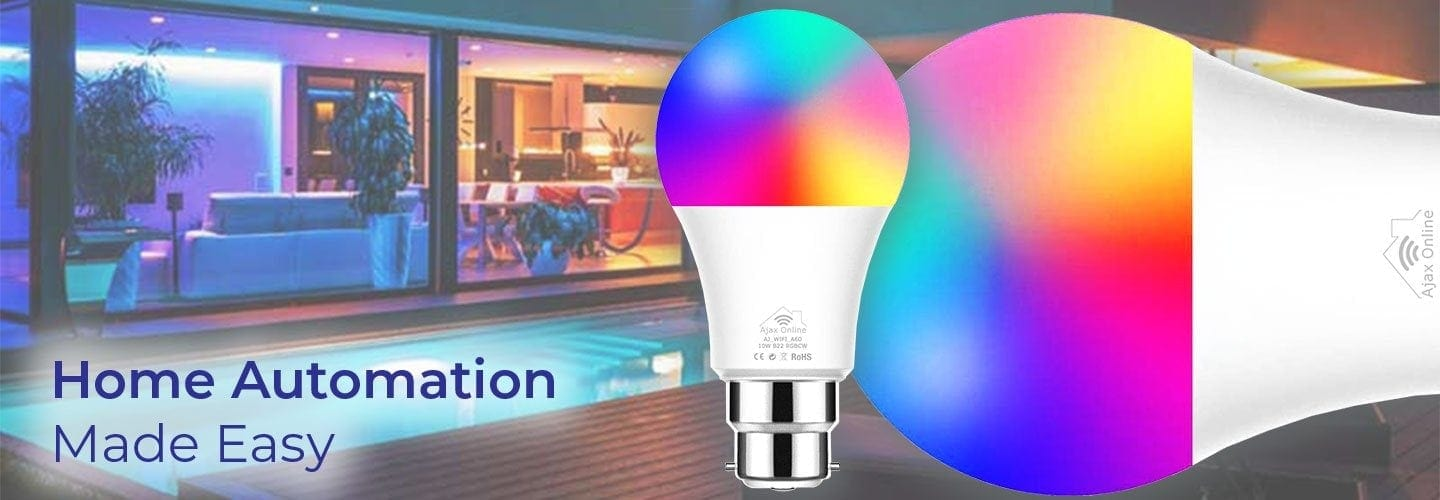 Smart bulb displaying multi colours. easy automation
