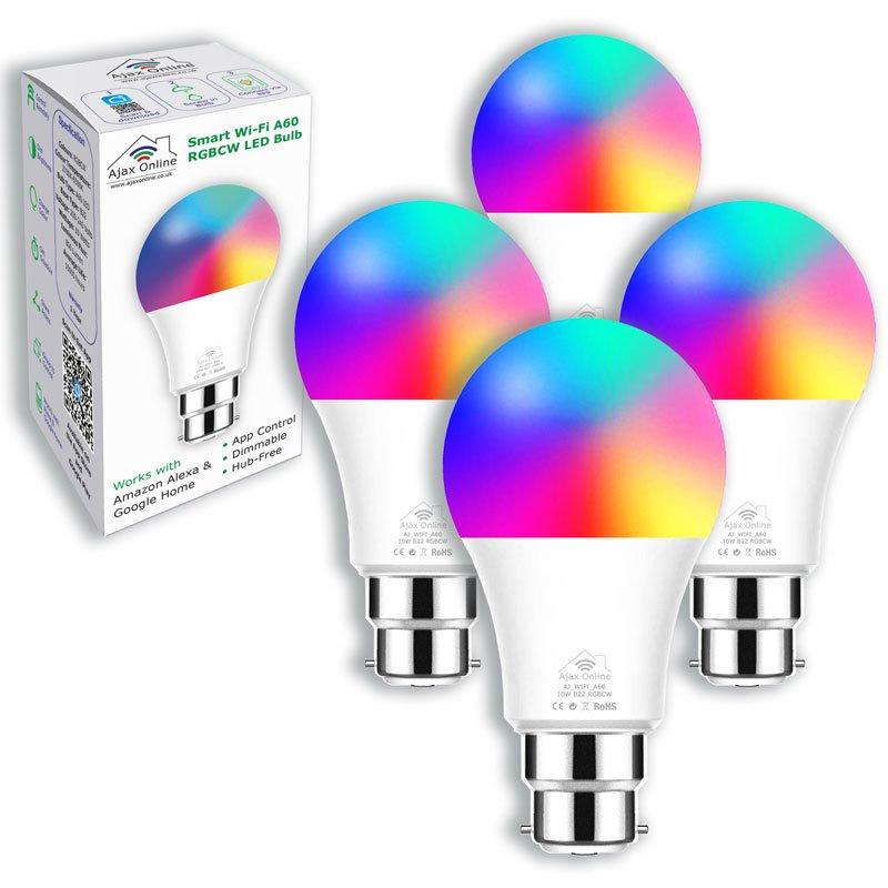 4 Smart Wifi bulbs displaying range of colours